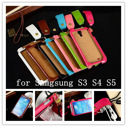 Listening to music lovers of choice New styling luxury leather case for Samsung Galaxy S3 S4 S5 with Headphone winder card slot(China (Mainland))