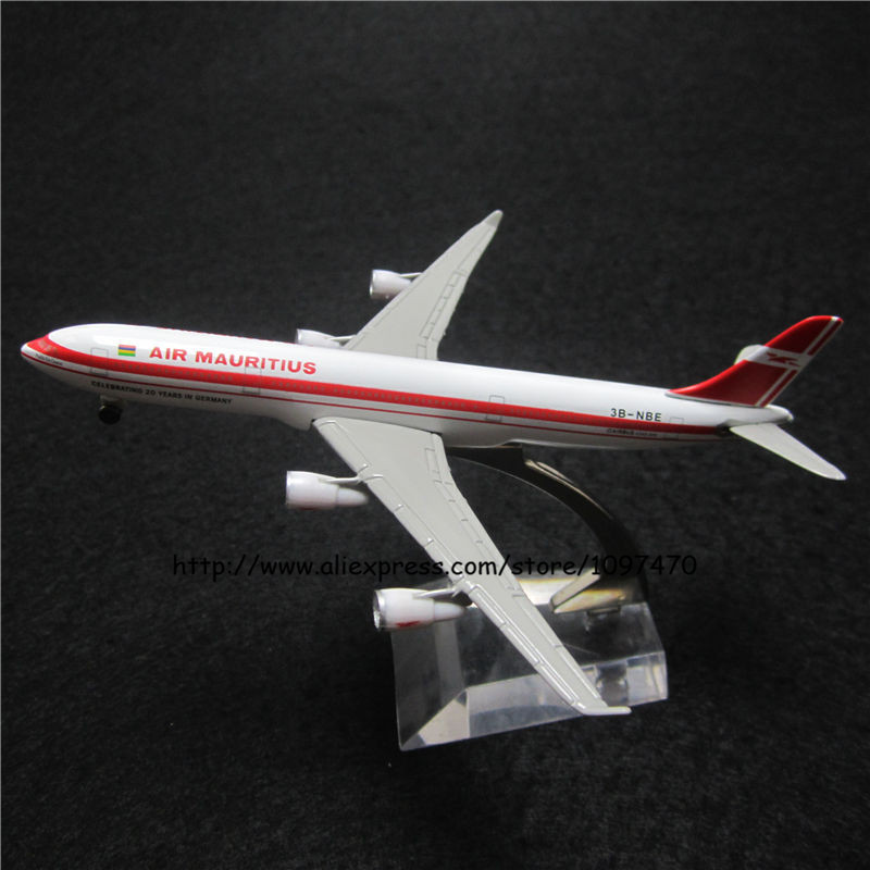 13cm Solid Metal Alloy Plane Model Air Mauritius A340 Airways Airbus 340 Airlines Airplane Model w Stand Aircraft Toy Gift(China (Mainland))