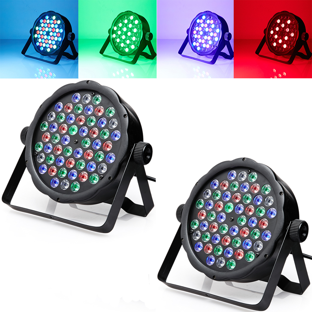 2*DMX Control 54 RGBW LED Par Light For Disco Party DJ Bar Lamp Music Show Strobe Projector Stage Lighting Effect(China (Mainland))