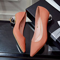 2016 Spring Summer Low Heel Shoes Fashion Lady Suede Flock Ultra Pointed Unique Heel Elegant High