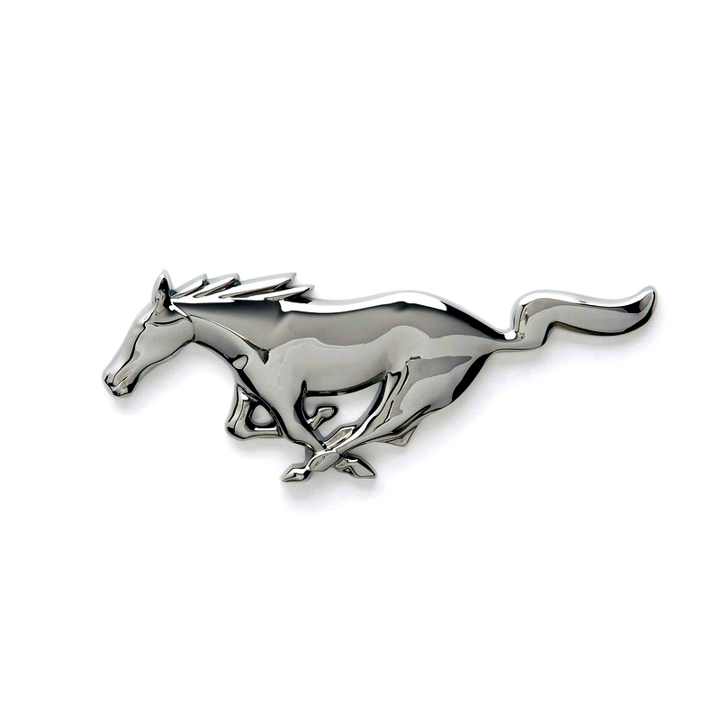ABS Chrome Front Grill Emblem Badge For Ford Mustang Pony GT Silver Running Horse Grille Badges Sticker(China (Mainland))