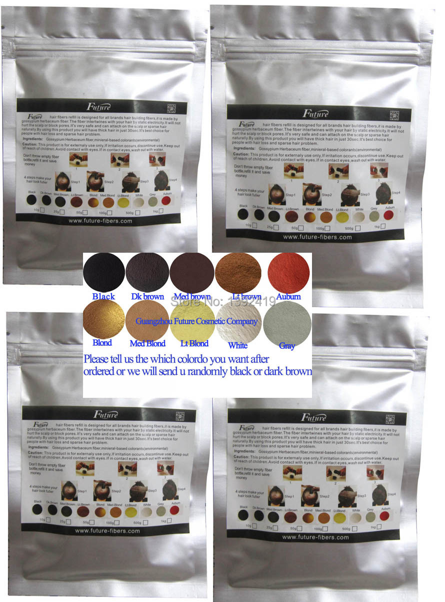 10colors Only Instant Hair Growth Fiber Natural Hair Loss Thinning Conceal Powder Styling 100g Refill Black/Dark/Medium Brown(China (Mainland))