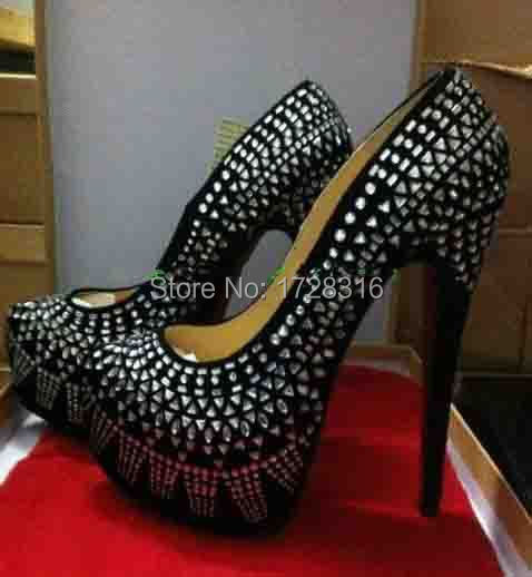 Red Bottom women's shoes Black suede crystal rhinestone platform High Heels sandals boots pumps - Super VIP shoe store