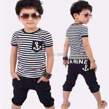 Free shipping New 2016 summer clothing sets kids pants + Top boys girls Navy Stripe kids clothes children tracksuit(China (Mainland))