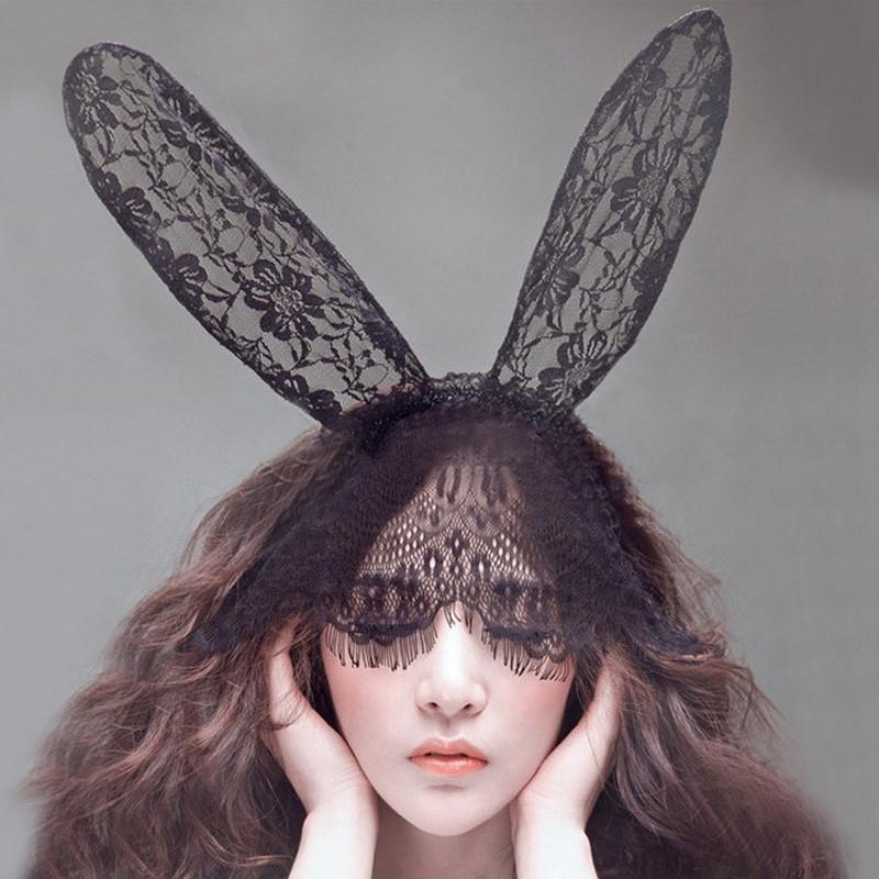 Black Sexy Bunny Long Ear Lace Bob Veil Mask Headband Headwrap Halloween Party Makeup Party #3546(China (Mainland))