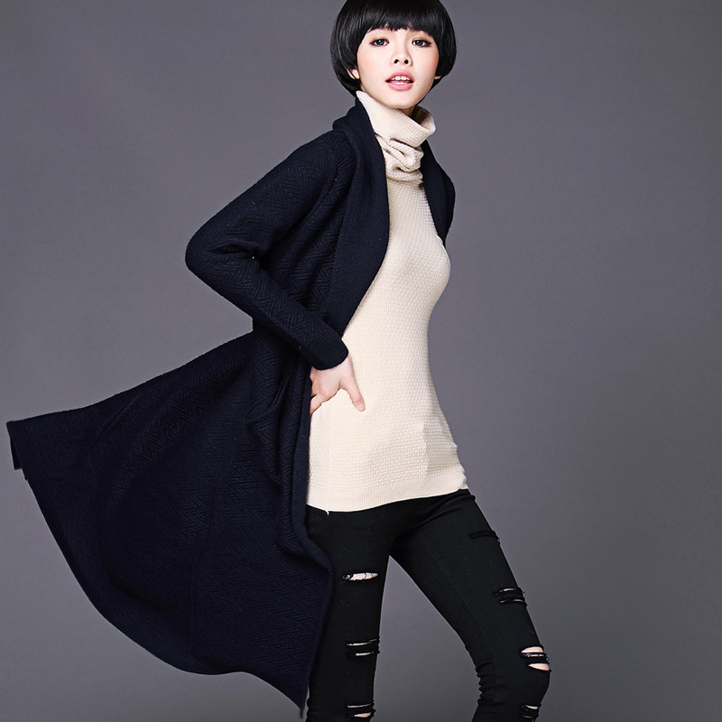 Women Long Sweater Cardigan 2015 New Solid Casual Long Wool Knitted Cardigan Loose Female Slim Sweater Outwear with Pockets