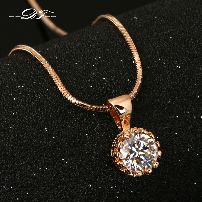 Vintage Crown CZ Diamond Necklaces & Pendants 18K Rose Gold Plated Fashion Brand Jewelry/Jewellery For Women Chains DFN390(China (Mainland))