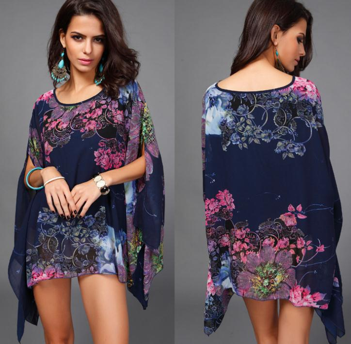 New 2015 Fashion Bohemian Flower Print Women Dress Casual Batwing Sleeve Chiffon Vintage Summer Dress Plus Size Clothing Sale(China (Mainland))