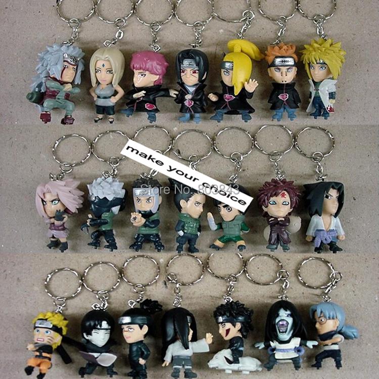 Good PVC Classic Anime Model Toy Naruto Action Figure Keychain 21pcs Full Set Free Shipping(China (Mainland))