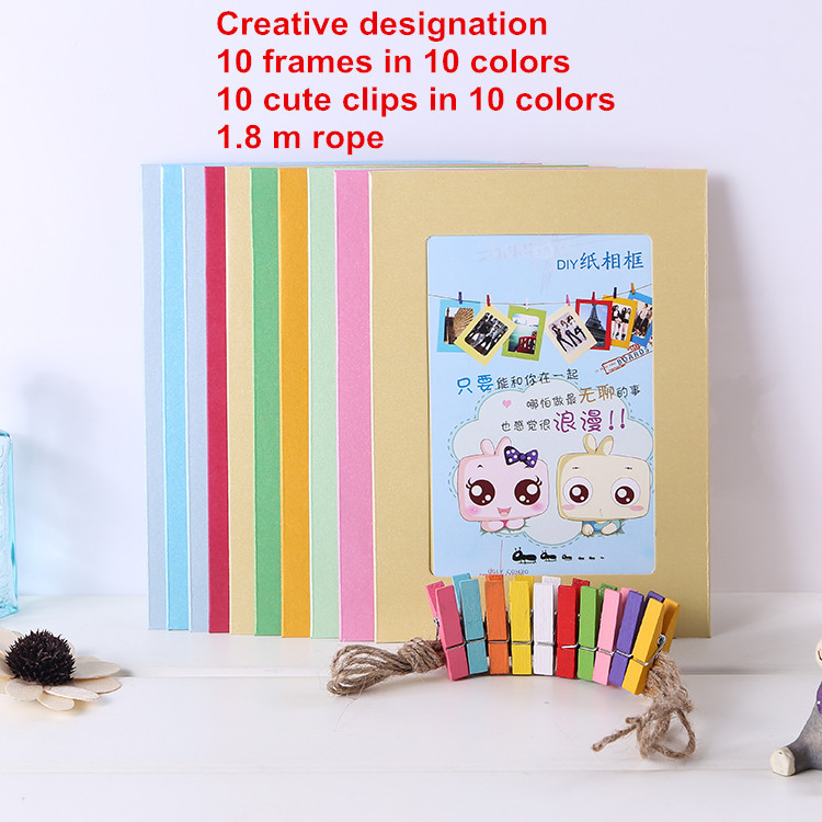 10X Paper Photo Frame Picture Hanging Album Frame Gallery With Hemp Rope Clips Free Shipping DIY Creative factory outlet(China (Mainland))