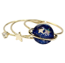 Free shipping Cute Blue Star Planet Saturn 13MM Joint Finger Rings Set ,Fashion Jewelry Wholesale HY(China (Mainland))