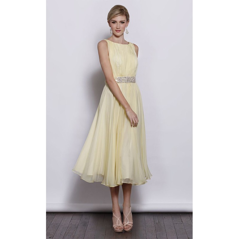 Fashion light yellow bridesmaid dresses 2016 simple boat for Yellow dresses for wedding guests