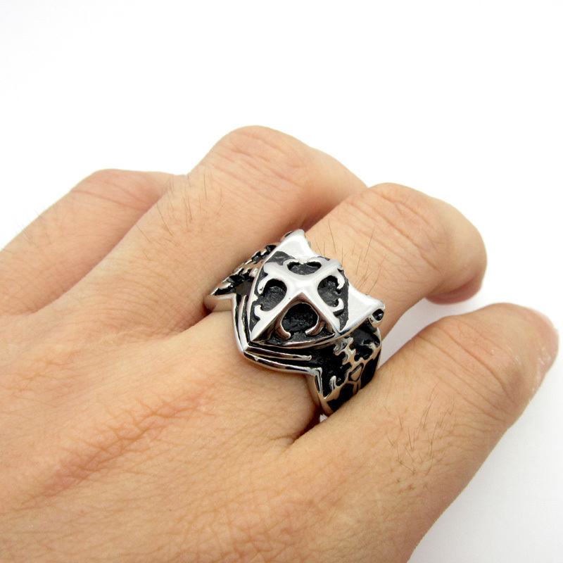 Fashion Mens Black Silver Vintga Egypt Pharaoh Pyramid Finger 316L Stainless Steel Cross Ring Free Shipping Cool Fashion PUNK(China (Mainland))