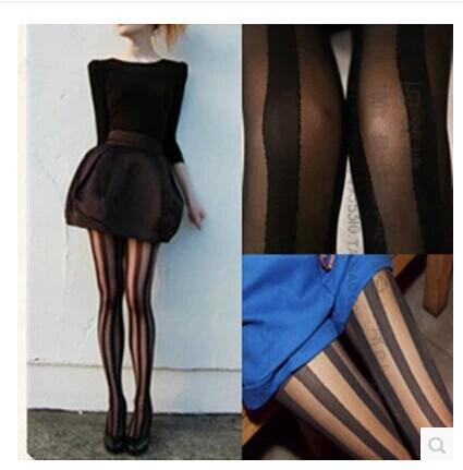 Women's Sexy Female Hosiery Stockings Summer Slim Wide Vertical Stripes Stockings Sexy Tights Anti-off Silk Stockings Hosiery(China (Mainland))