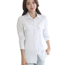 Buy Casual White Women Blouse Ladies Solid Elegant V-neck Blouses Long Sleeve OL Office Shirt Turn-down Collar Hot for $4.02 in AliExpress store