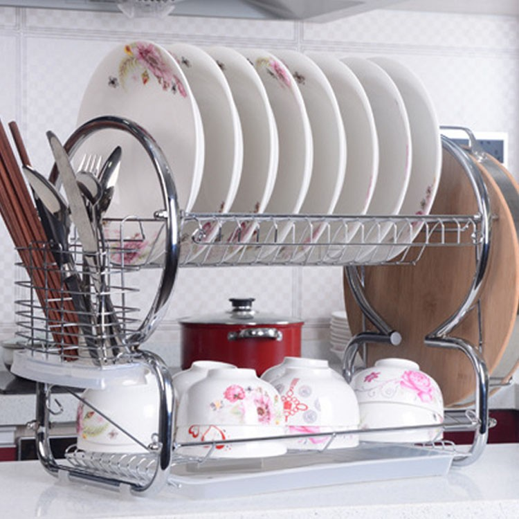 2015 New 2 Tiers Stainless Steel Kitchen Dish Cup Drying Rack Drainer Dryer Tray Cutlery Holder Organizer Free Shipping US51(China (Mainland))