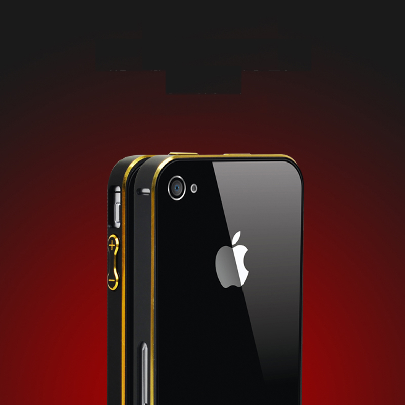 Luxury Metal Bumper for Apple iPhone 4 4s Hippocampal Button Lock Aluminum Alloy Frame with Gold Side(China (Mainland))