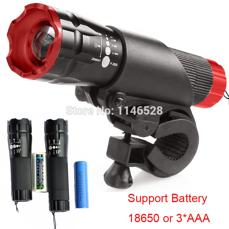New Bicycle Light 5 Watt 2000 Lumens 3 Mode CREE Q3 LED Bike Light Front Torch Waterproof + Torch Holder Support 18650 Battery(China (Mainland))