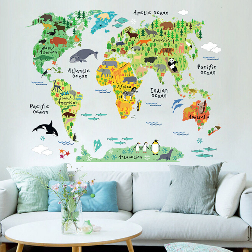Top grand 2016 news colorful world map wall stickers living room home decorations pvc decal mural office kids room wall art(China (Mainland))