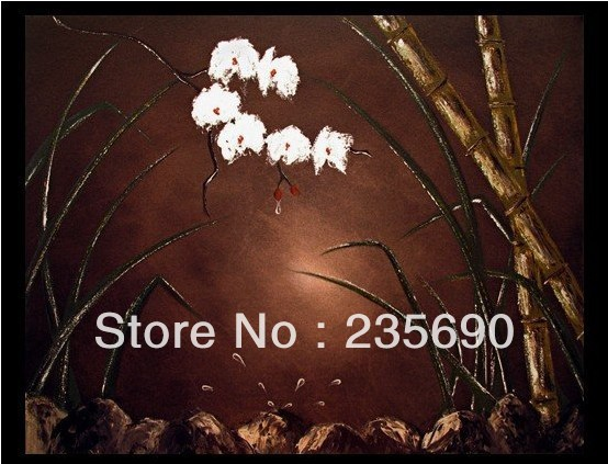 Bamboo & Flowers 100%Hand-painted Wall art Home decoration Modern Still Life oil Painting on canvas 18*24 inch FreeShipping(China (Mainland))