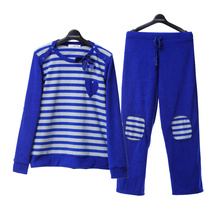 Song Riel fashion fleece long sleeved striped pajamas men and women couple of sports tracksuit early