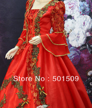 red Medieval Renaissance luxury embroidery Gown queen Dress stage costume Victorian Gothic/Marie Antoinette/Colonial Belle Ball
