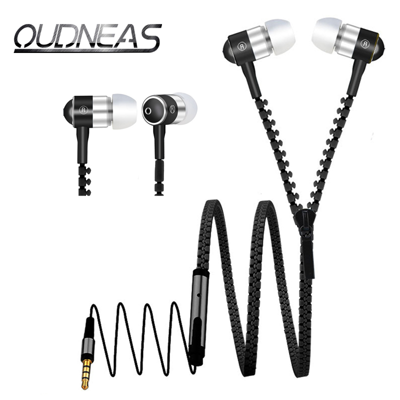Metal Zipper Nylon line 3.5mm In-Ear EarPhones Stereo Headsets Bass Earbuds ear phone With Microphone For a Mobile Phone PC MP3(China (Mainland))