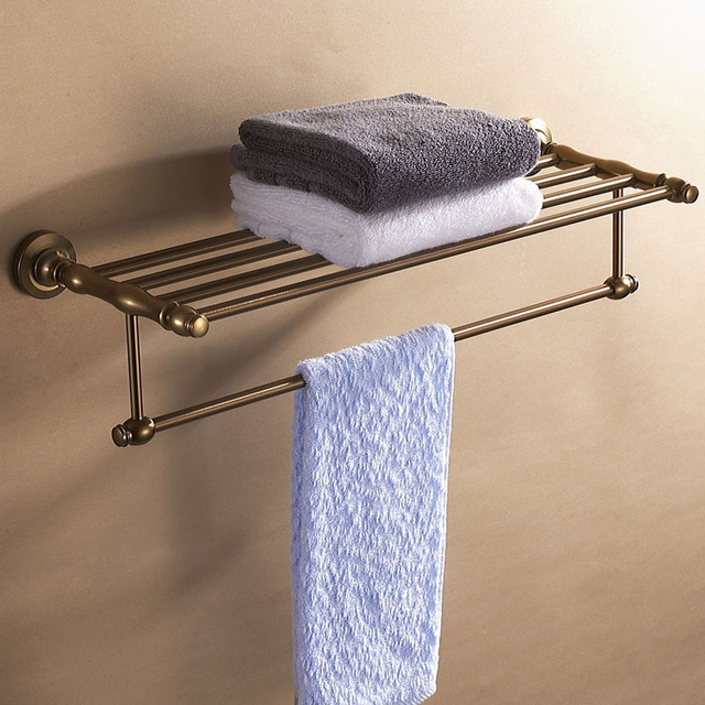 Free shipping cosmetic bath towel rack  towel shelf towel holder storage kitchen shelf bronze aluminum