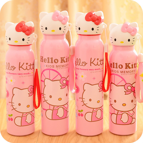 2 Size.Kawaii Pink Hello Kitty Stainless Steel Vacuum Cup.Cartoon Insulation Thermal Cup.Children Vacuum Flask Bottle Drinkware(China (Mainland))