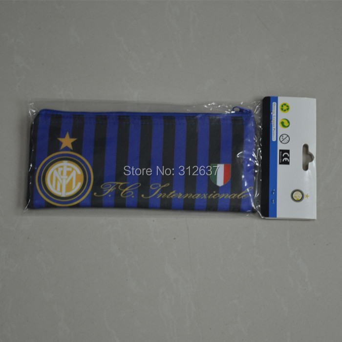 wholesale stationery store Italy soccer badge pencil-case/pen bag souvenir soccer Inter Milan kids gift pencil case(China (Mainland))