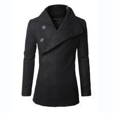New Mens Pea Coat 2015 Mens Fashion Diagonal Single Breasted Design Mens Wool Blend Trench Coat Jacket Brand Overcoat Coat Male(China (Mainland))