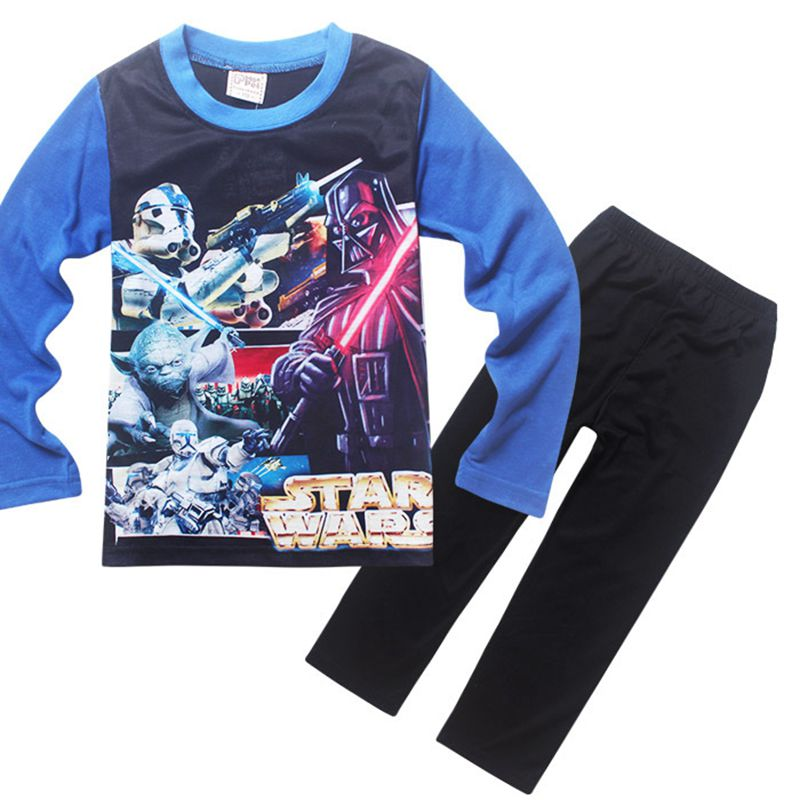 Autumn 2016 Children Clothing Casual Cotton STAR WARS Force Awakening Boys Kids Clothes Long Sleeve Sleepwear Two-Piece Sets(China (Mainland))