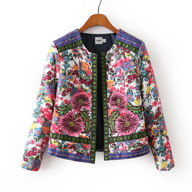 2017 Brand spring clothing Women new Ethnic Printed Floral flower Embroidery jacquard woven quilting cotton jacket Coats female