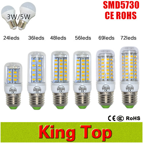 New Arrival SMD5730 E27 24-72Leds Bulb Lamp 3W 5W 7W 12W 15W 18W 20W 25W High Power LED Lights For Home Lighting With CE ROHS(China (Mainland))