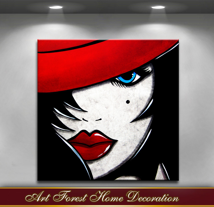 Free Shipping 100% Hand Made Red Girl Pop art oil Paintings on Canvas Modern Abstract Wall Art Paintings For wall Decor(China (Mainland))