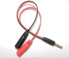100pcs/lot 4 pole Stereo 3.5mm Jack Male to 2 Female Dual Jack Earphone Headphone Y Splitter Audio Cable Adapter JacK