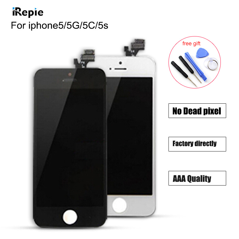 Hot AAAA Quality Replacement LCD Screen For Apple iPhone 5G 5S 5C Display With Digitizer Touch Screen Assembly in Black White(China (Mainland))