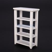 Free Shipping White 1:12 Dollhouse Miniature Furniture Wooden Study Shelf(China (Mainland))