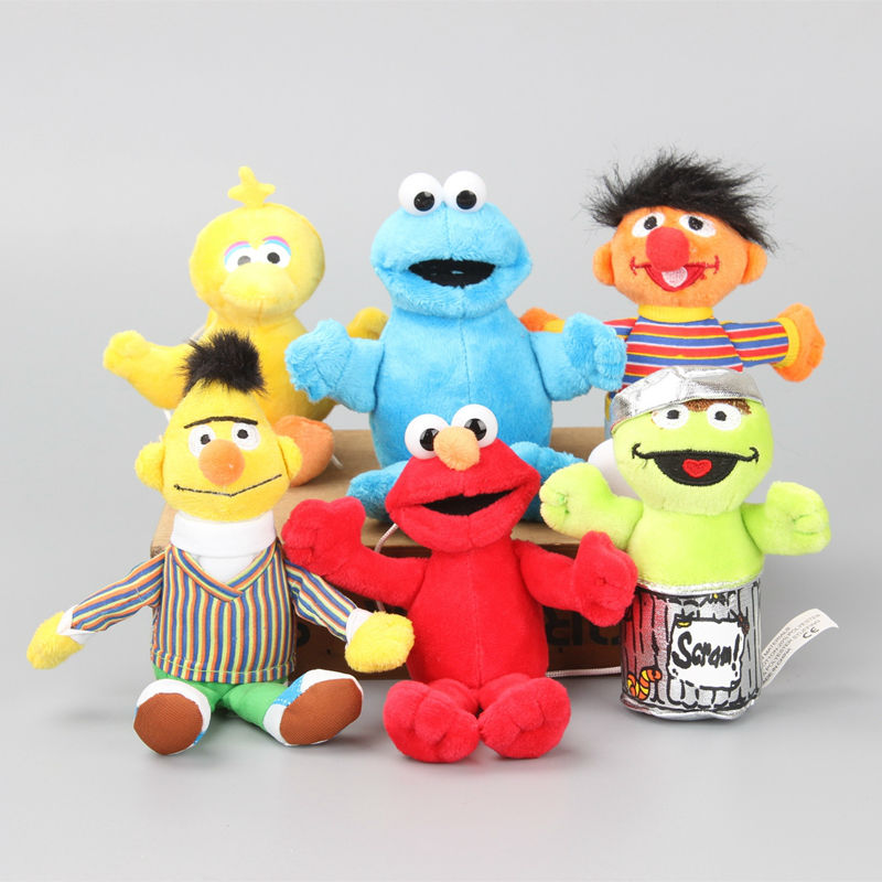 New Arrival 6 Pcs/Set Sesame Street Elmo Doll Puppet Plush Toy Christmas Gift 13-18 CM(China (Mainland))