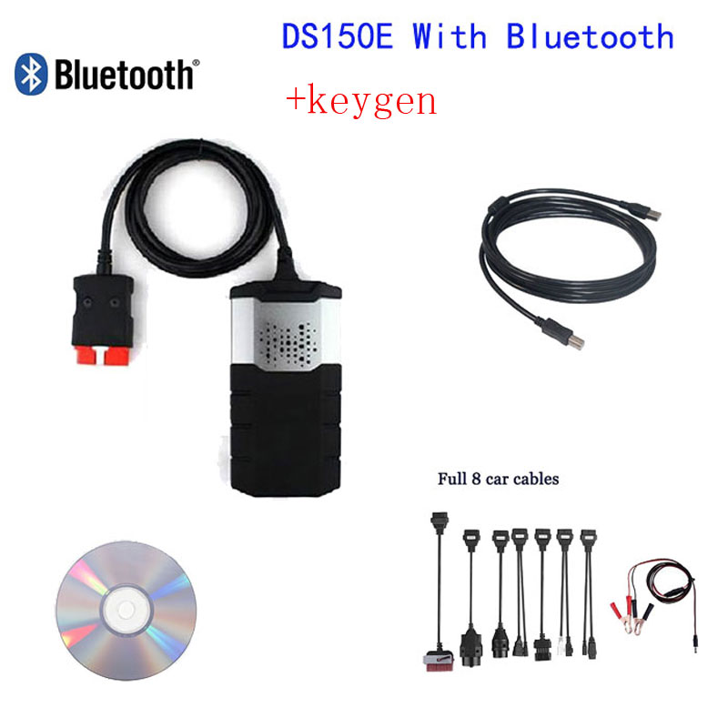 VCI Car diagnostic tool CDP Plus De1phi DS150E Bluetooth keygen Autocom Pro+keygen+Full 8 car cables