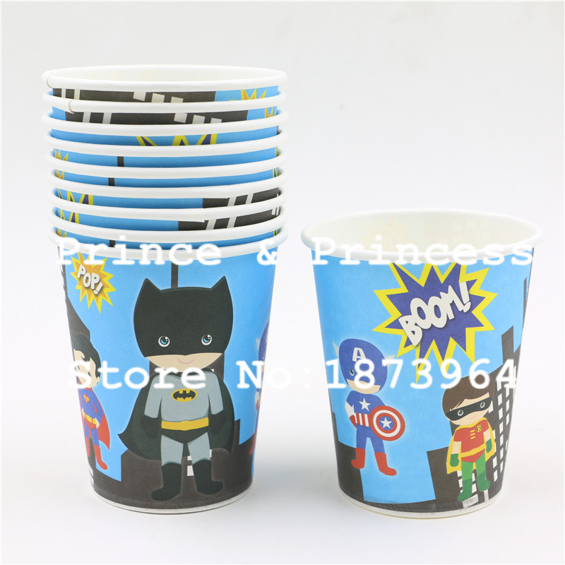 Superhero Avenger Batman Kids Boys Girls Baby Happy Birthday Party Glasses Decoration Supplies Paper Drinking Cups Favors 60Pcs(China (Mainland))