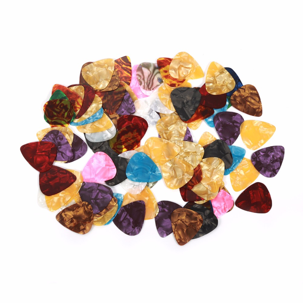 100pcs New Thin Acoustic Electric Guitar Celluloid Picks Plectrum Multicolor Thickness 0.46mm Instruments Parts Accessories(China (Mainland))
