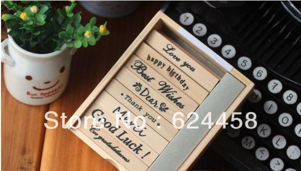 Free shipping stationery DIY wooden message stamp set/decoration stamp/rubber stamp 8pcs/set 5sets/lot