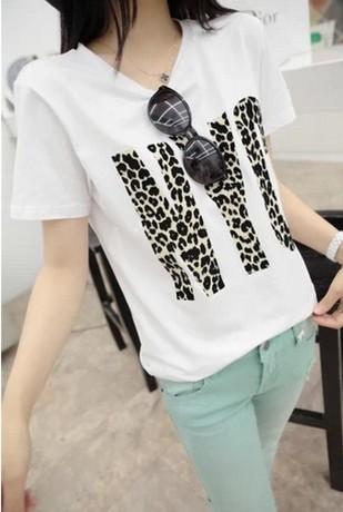 Hot Sale! WoHot Sale! Women comfortable cotton T shirt Logo new fashion European Style C paris letters print Shirt round neck(China (Mainland))