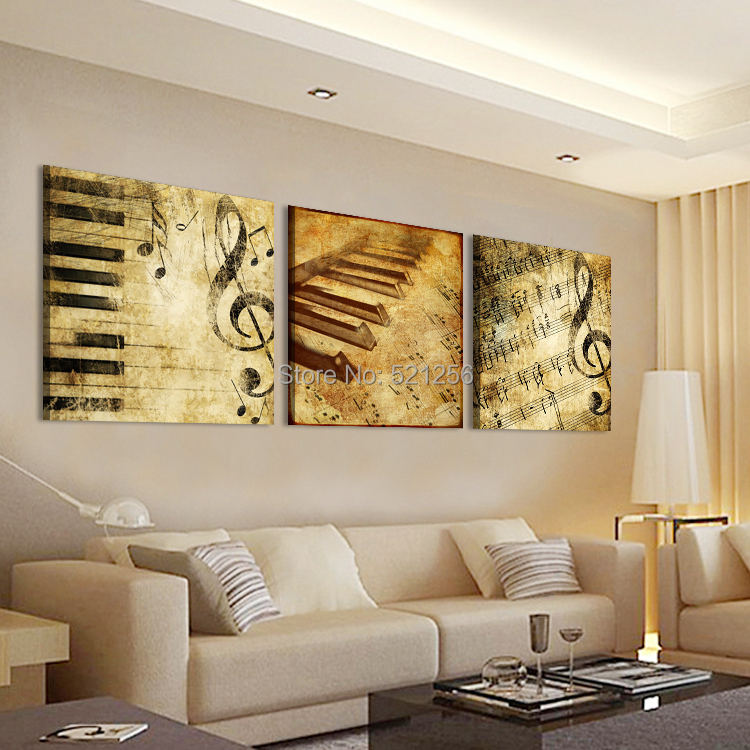 Modern Wall Art Home Decoration Printed Oil Painting Pictures No Frame Canvas Prints 3 Panel Classical Piano Music Notes(China (Mainland))