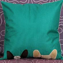 Two Puppies Linen Back Cushion