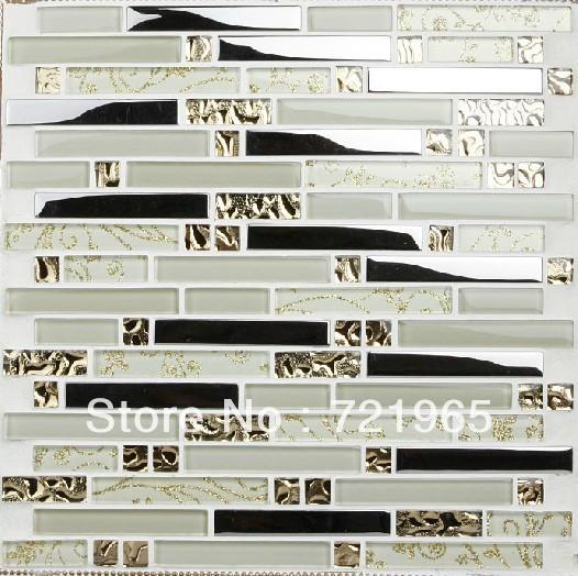 interlocking stainless steel glass mosaic kitchen