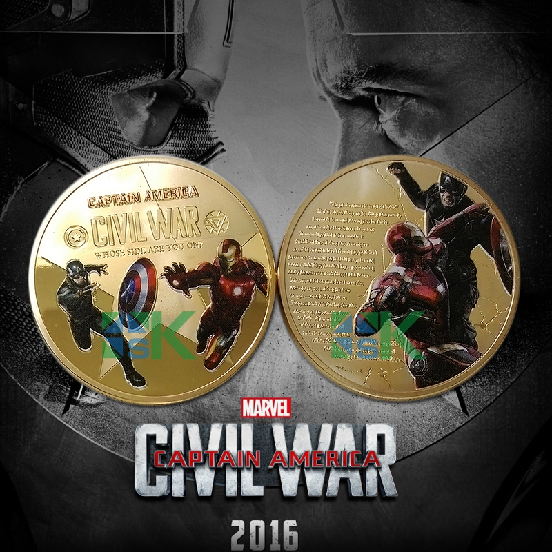 New Arrival 1Pcs /lot Super Heros Captain America Colorized Design 40*3 mm Coin Challenge Coin(China (Mainland))