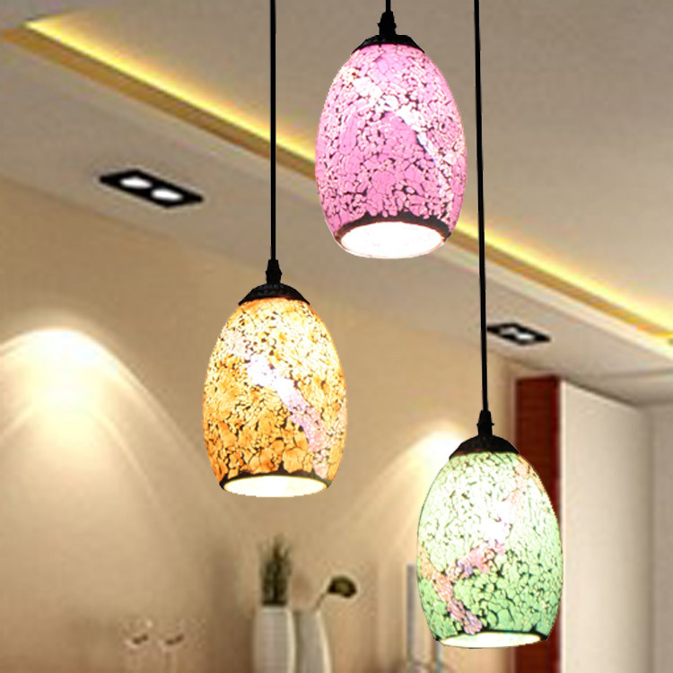 European Style Simple Light Lamps Decorated Restaurant Bar Color Glass Mosaic Three Head Pendant Lights Wholesale(China (Mainland))