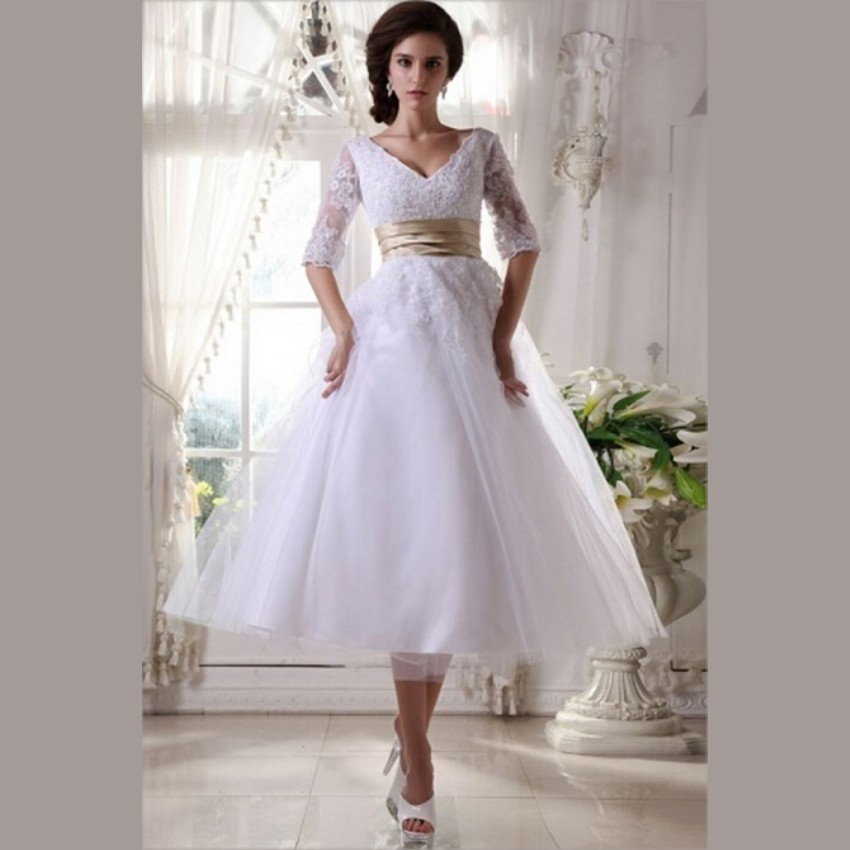 Aliexpresscom buy 2015 white lace tea length wedding for Short white wedding dress with sleeves